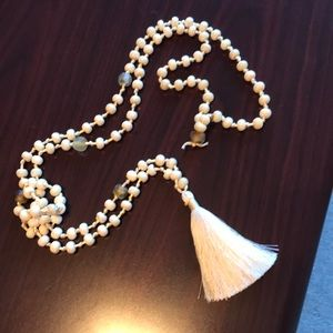 Jewelry - Cream beads and tassel necklace